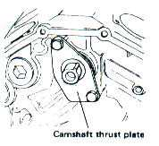 Camshaft thrust plate under camshaft gear